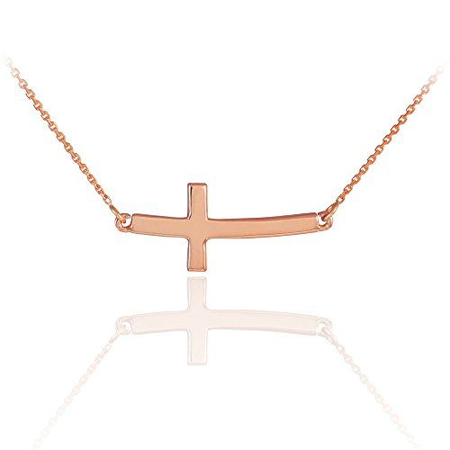 14k Solid Rose Gold Sideways Curved Cute Cross Necklace 18 Inches -- Want to know more, click on the image.(This is an Amazon affiliate link)