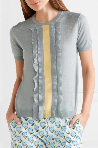 Sky-blue and pastel-yellow wool and silk-blend Slips on 70% wool, 30% silk Dry clean Made in Italy
