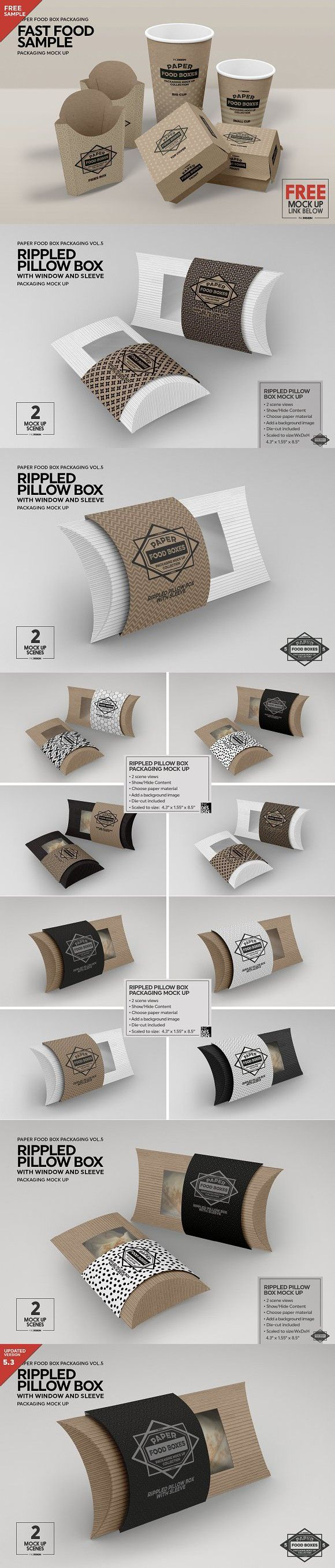 Rippled pillow box packaging mockup window design pinterest