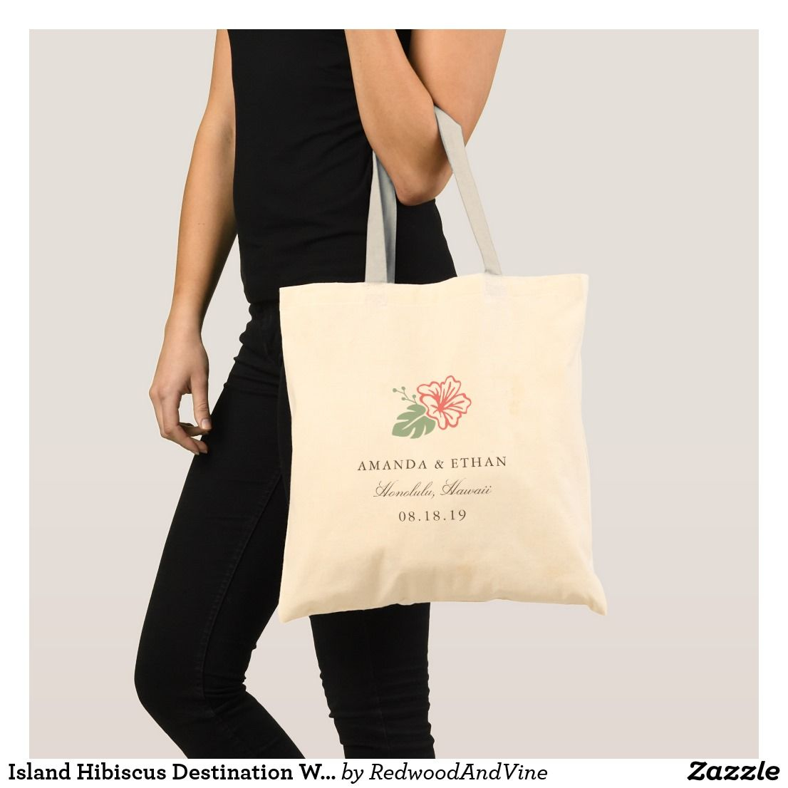 Island Hibiscus Destination Wedding Favor Tote Bag | Wedding:Tote ...