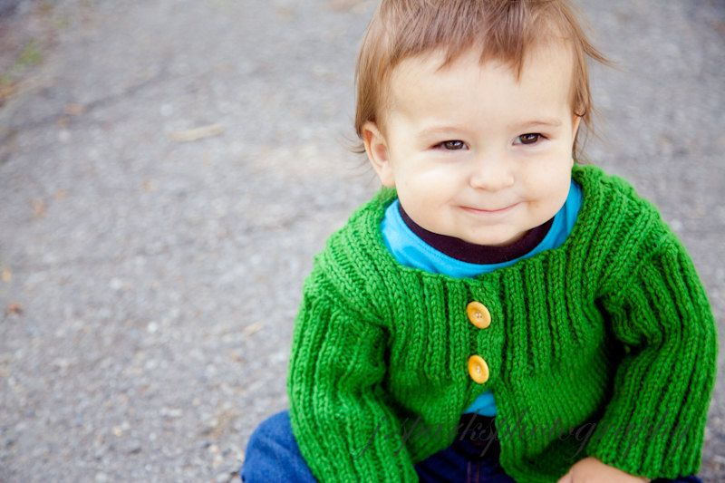 Baby Toddler Knitted Cardigan Sweater in Green Size 2 years 100% wool Ready To Ship. $38.00, via Etsy.
