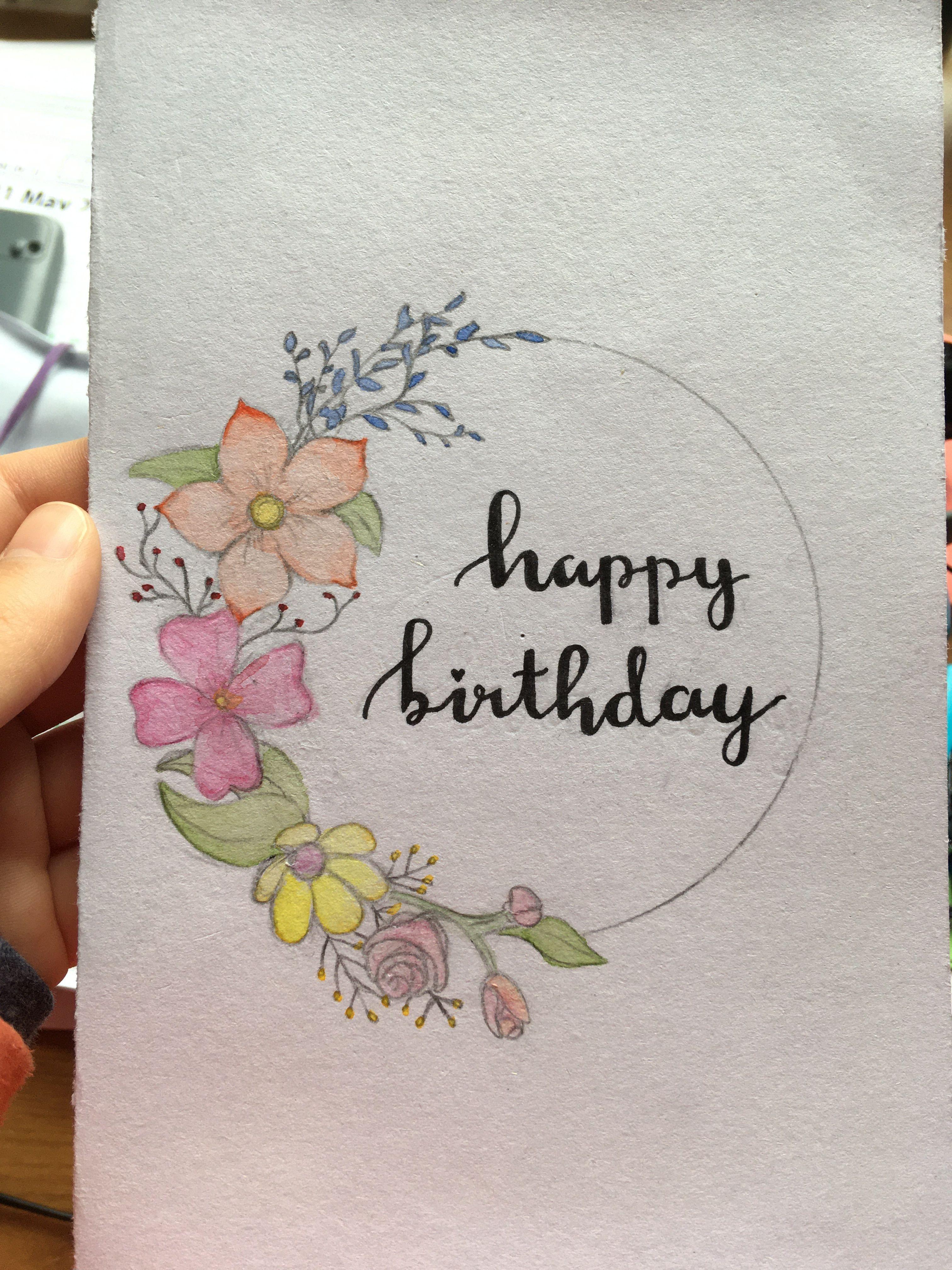 Birthday Card Watercolor Birthday Cards Happy Birthday Cards Handmade Birthday Card Drawing