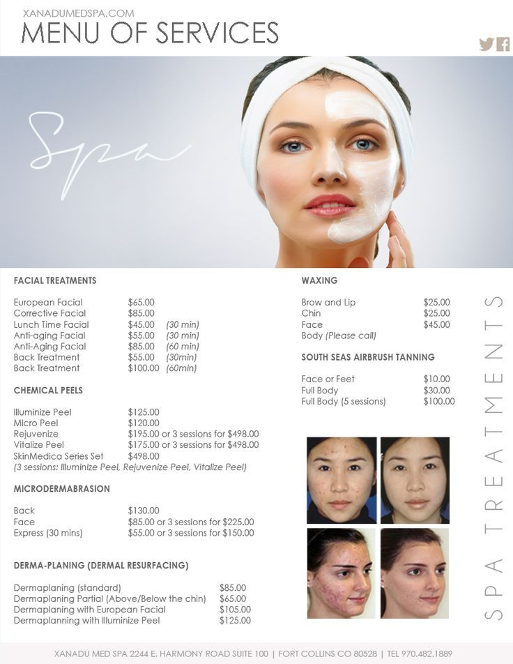 Facials Medical Spa Menu of Services Cryotherapy Wholebody - sample spa menu template