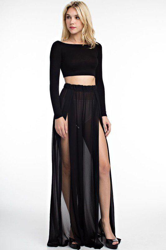 Wide Leg High Slit Black Sheer Pants High waist mesh, wide leg ...