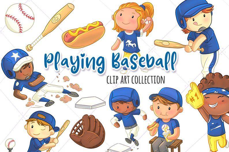 Kids Playing Baseball Sport Clip Art Collection Cute Etsy Kids Playing Baseball Kids Playing Clip Art