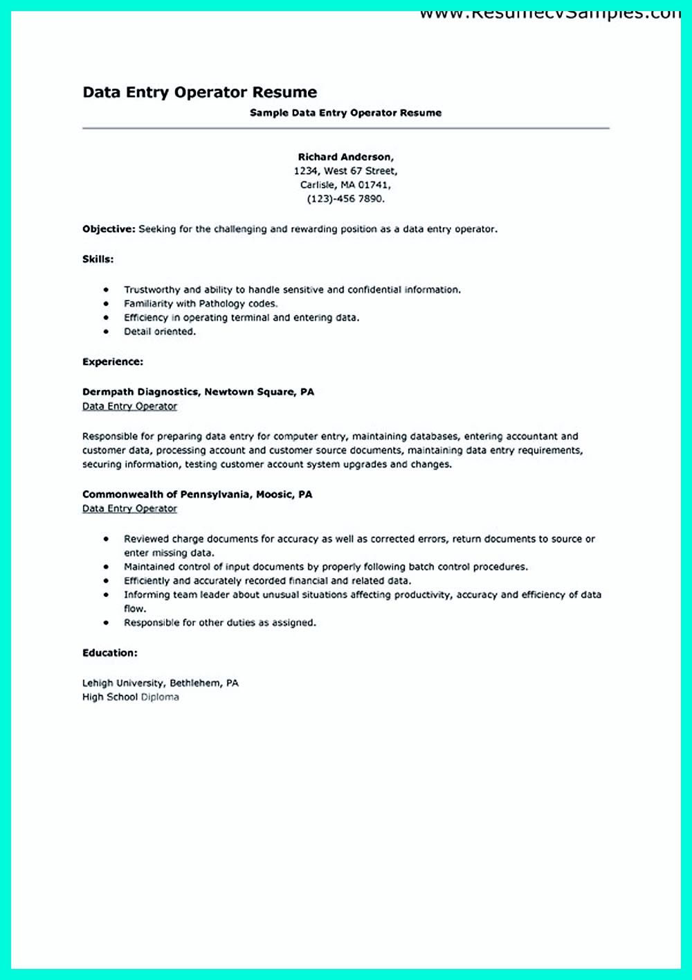 Ordinaire Charge Entry Specialist Sample Resume 10 Data Entry Job Description For  Resume   SampleBusinessResume .