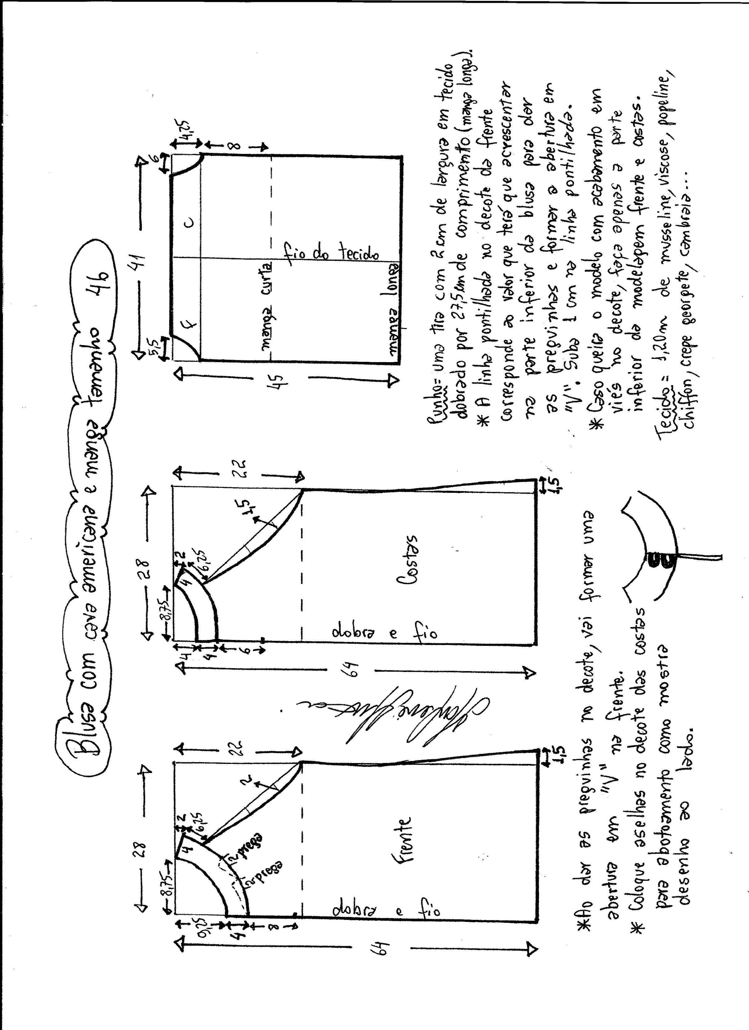Patrón Blusa cava americana con manga | costura grande | Pinterest ...