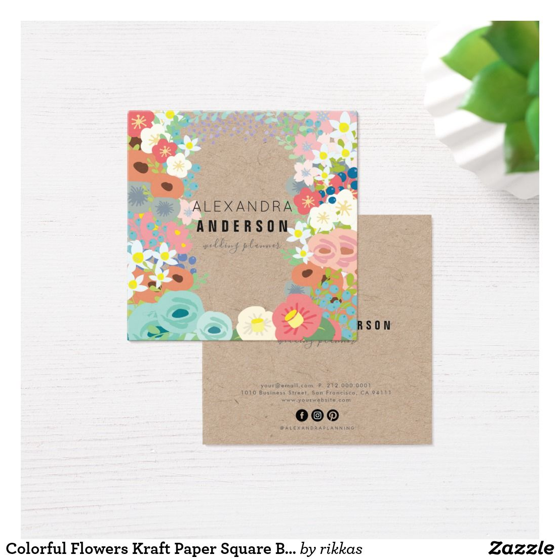 Colorful flowers kraft paper square business card reheart Image collections
