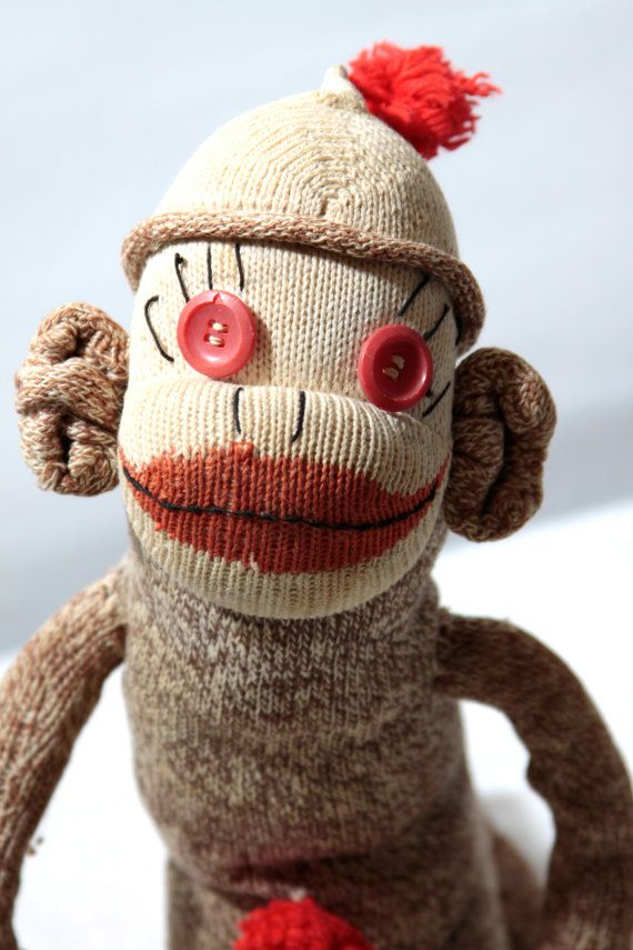 When was the last time you saw a REAL sock monkey? These handmade toy  patterns were popular in the 50s! The body is made of the traditional brown