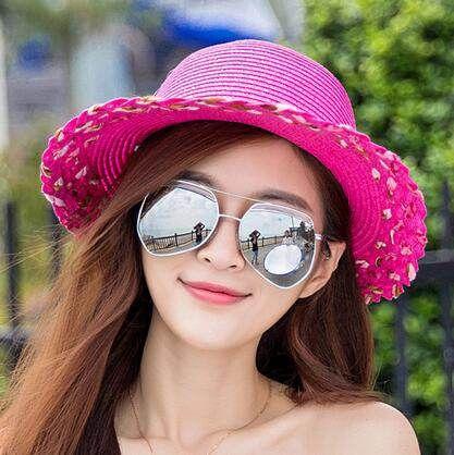 a6da206999f Tie bow straw hat for women UV protection sun hats summer wear