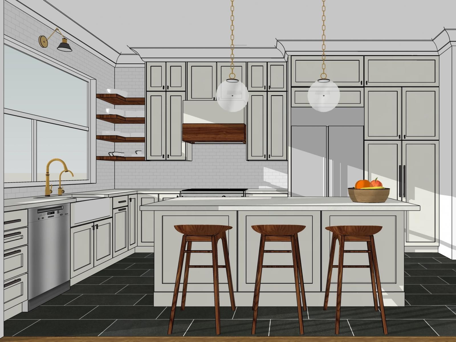 Clean, bright kitchen modeled in SketchUp | SketchUp Tips ...