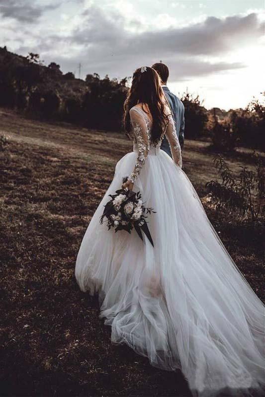 Light Pink See Through Long Sleeve Boho Wedding Dresses Lace Applique Bridal Dress
