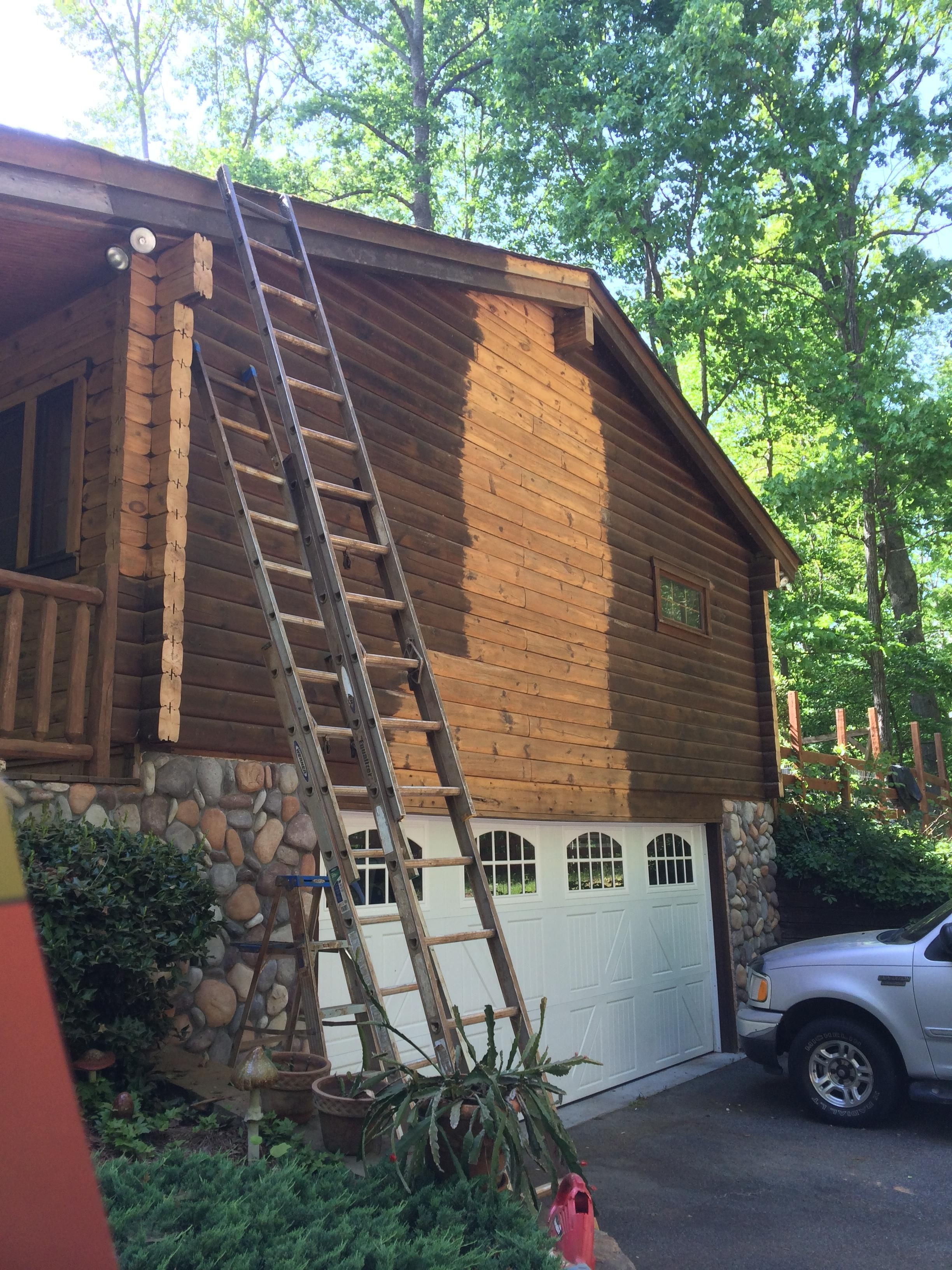 Prepping With A Pressure Washer For A New Stain On The Log Cabin Deep Cleaning House House Cleaning Tips Log Homes