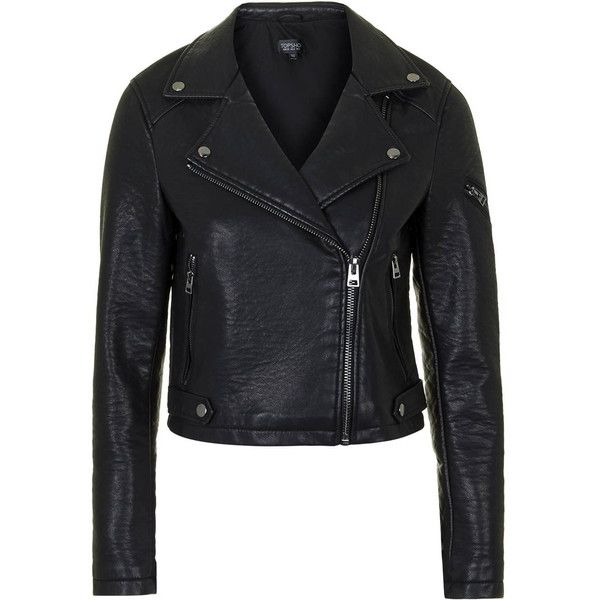 TopShop Faux-Leather Biker Jacket (£52) ❤ liked on Polyvore featuring outerwear, jackets, black, multi pocket jacket, rider jacket, motorcycle biker jacket, vegan biker jacket and moto jacket
