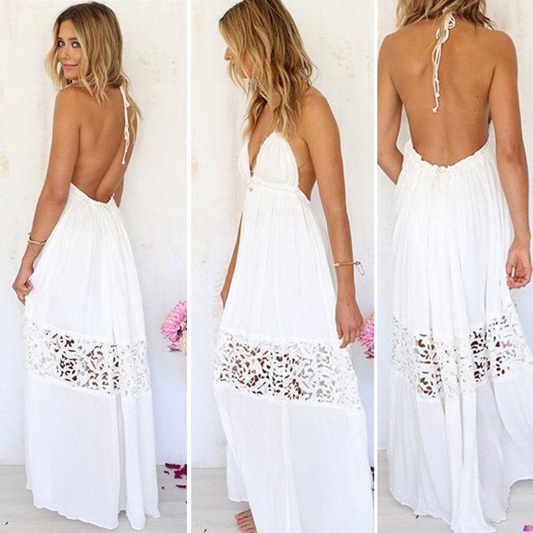 V-neck Backless Crochet Maxi Beach Dress | Beach dresses, Beach and ...