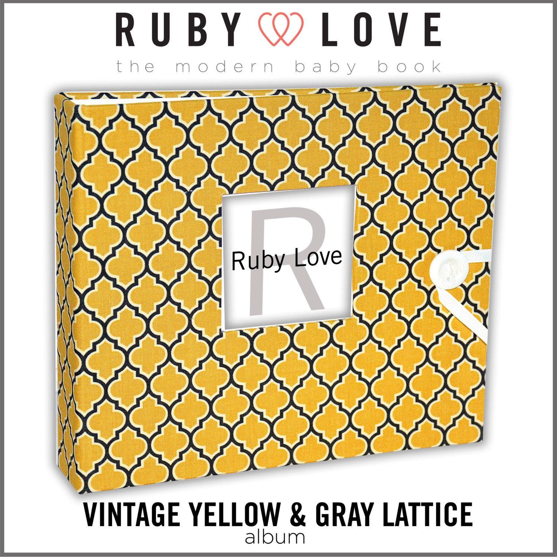 Baby Book, Baby Album, Baby Memory Book, Modern Vintage YELLOW and GRAY LATTICE Album . Ruby Love Modern Baby Memory Book by rubylovedesigns on Etsy https://www.etsy.com/listing/194504787/baby-book-baby-album-baby-memory-book
