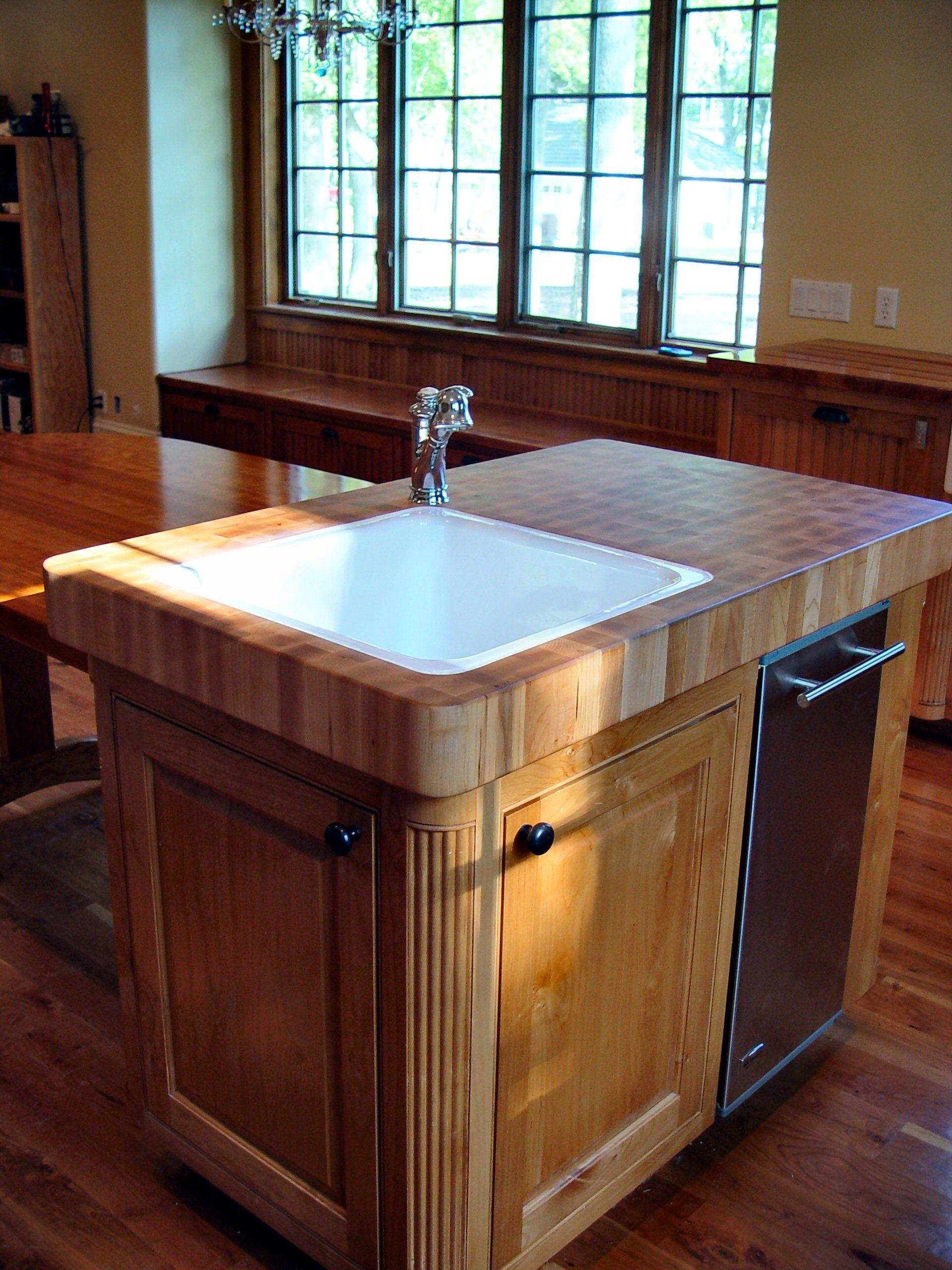 Custom solid wood island top with top mount sink - end grain Hard ...