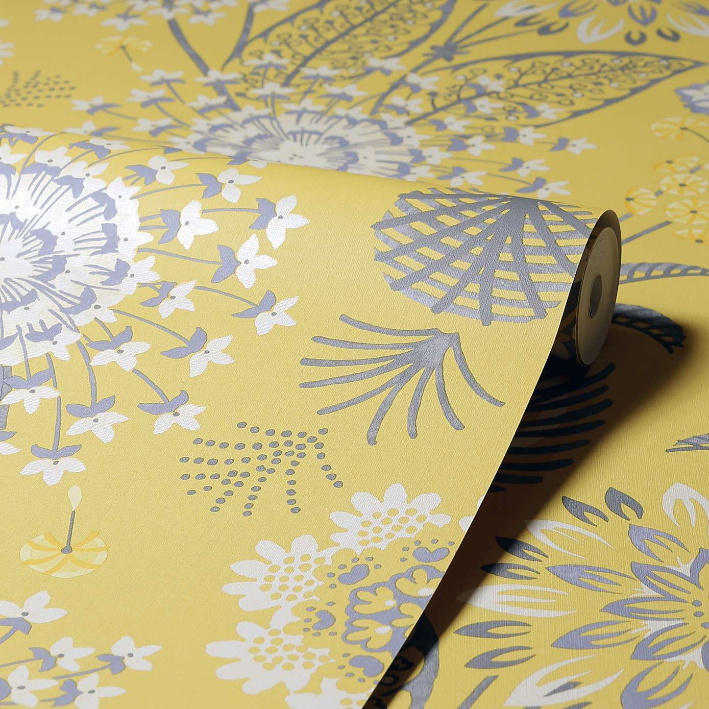 Vintage Bloom Mustard Floral Wallpaper in 2020 Wallpaper