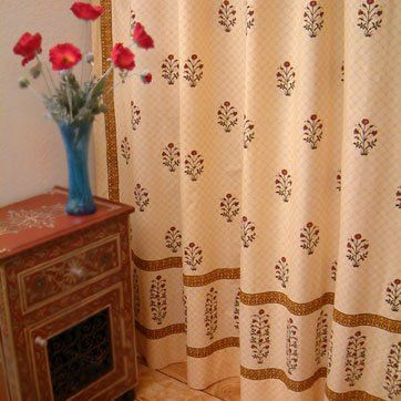 Red Poppy Luxury Elegant India Floral Bathroom Shower Curtain