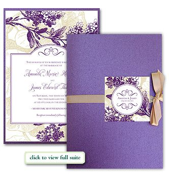 custom wedding invitation self assembly kit deep purple and antique gold lilac branches vintage - Purple And Gold Wedding Invitations