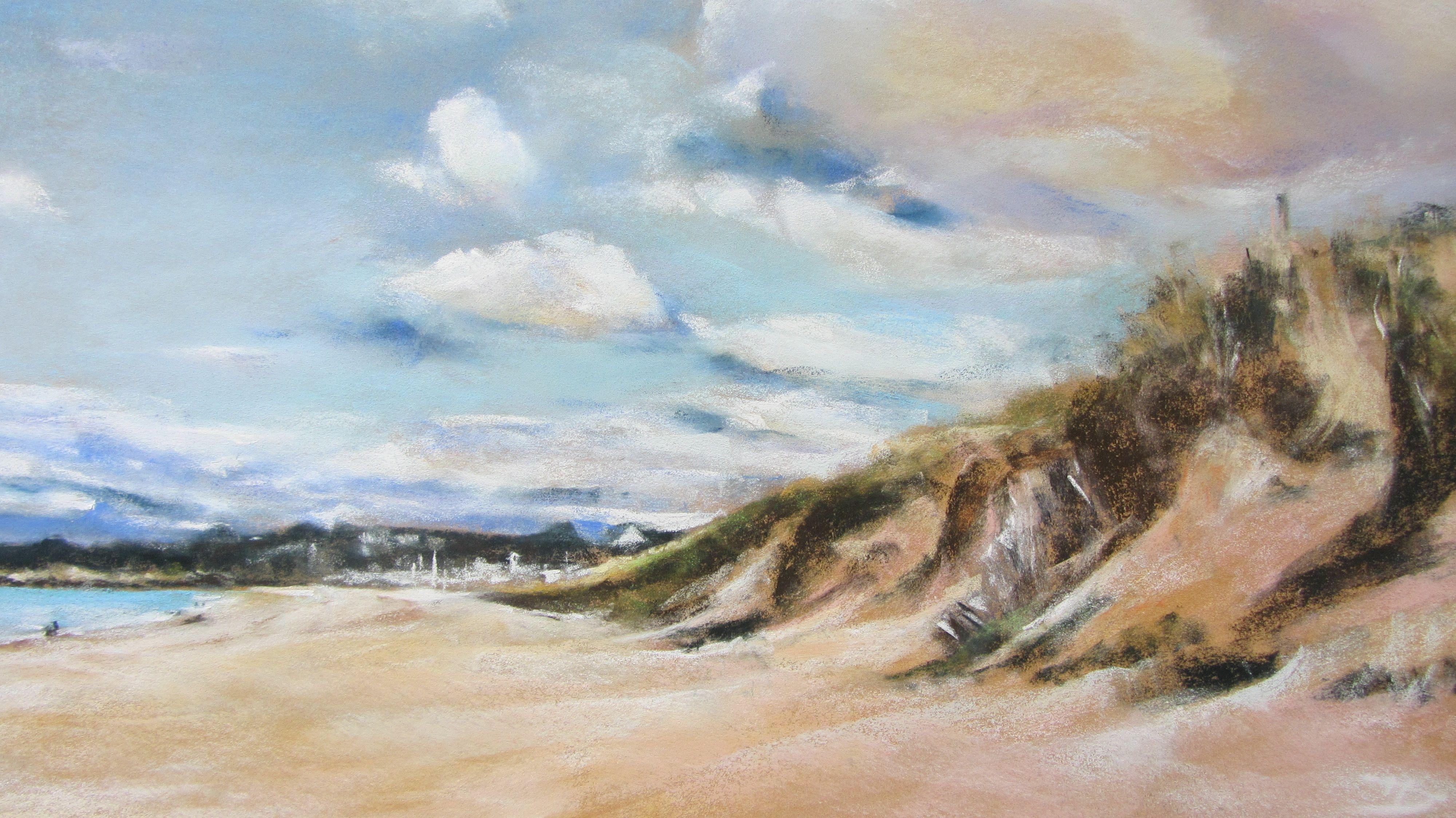 """Pastel sec par Isabelle Douzamy-Artiste peintre-Bretagne """"Plage des Mielles"""" Saint-cast-le-guildo www.douzamy.com"""