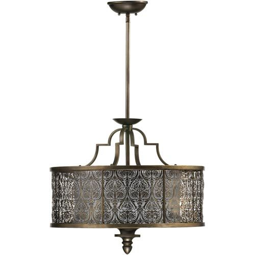French Damask Four Light Vintage Pewter Pendant Quorum
