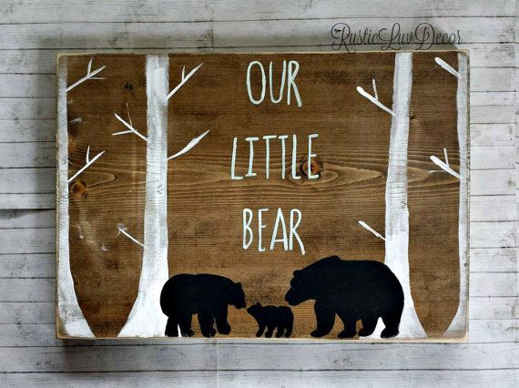 Our Little Bear Rustic Nursery Decor Mama Papa And Baby Wood Sign Tribal Wall Reclaimed Kids Bedroom