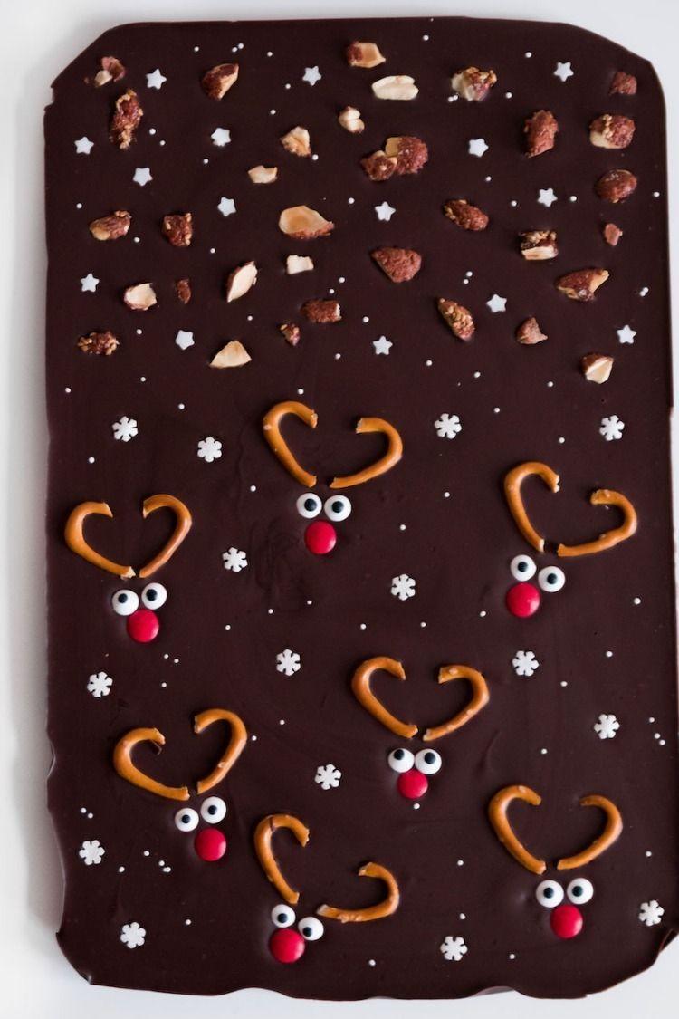 Selbst gemachte, und vor allem leckere Rentier-Schokolade als Last-Minute Geschenk kommt meistens immer richtig gut an!