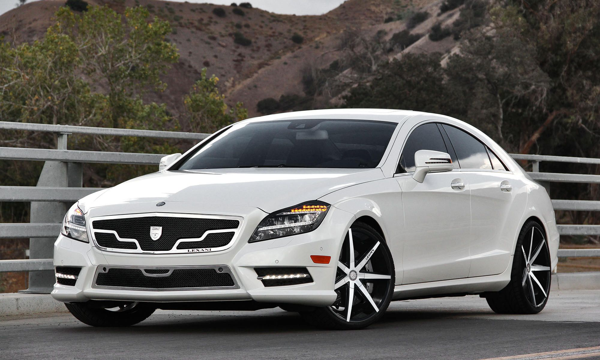 2013 white mercedes cls with gloss black machined and black lip lexani r seven wheels staggered 20 inch r seven rims front and rear - White Mercedes Suv 2013