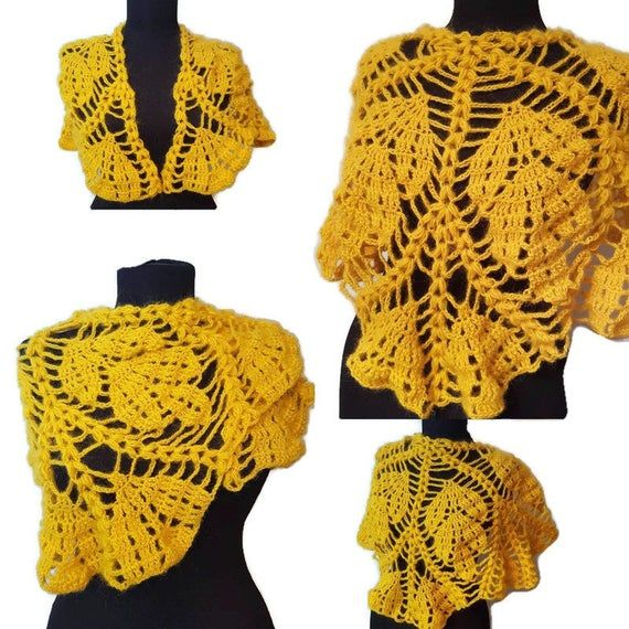 Photo of Yellow crochet leaves shawl, lace triangle scarf, bohemian poncho, neck warmer, spring autumn shawl, women's gift