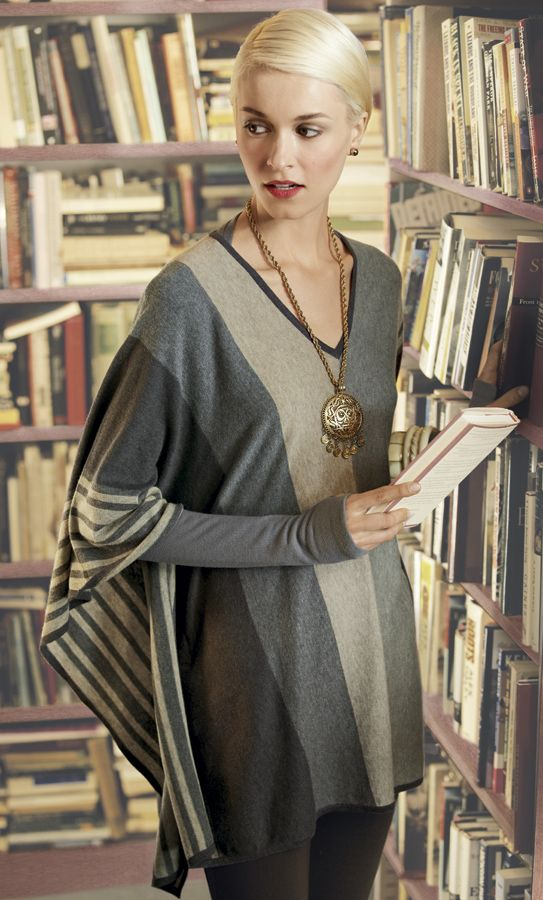 Fall 2012 CAbi collection: Horizon Poncho with gray Ballet Arm Warmers. For more info, please email Sandra, Independent CAbi consultant at coolfashion.sense@gmail.com