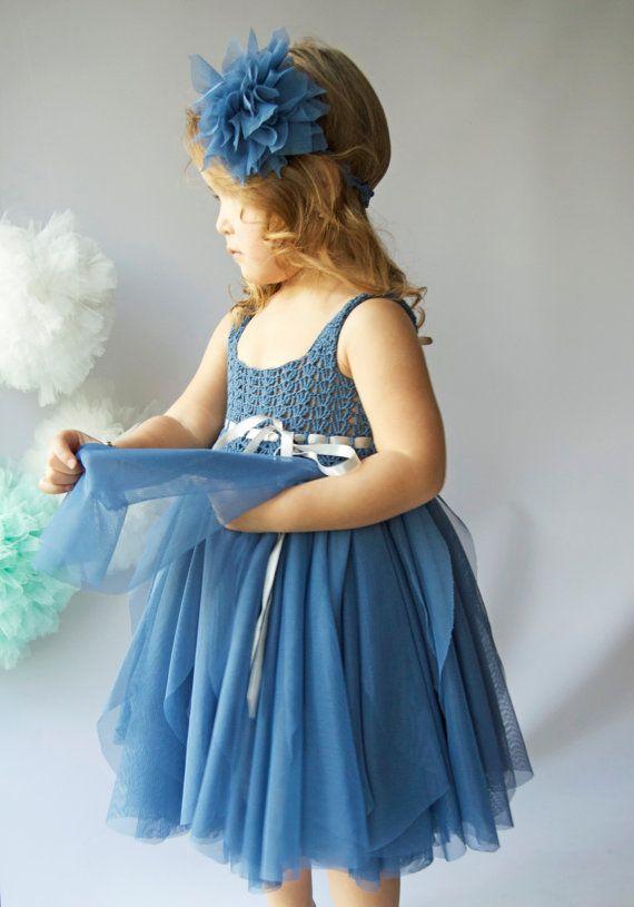 b4bf83030 Indigo azul tul vestido con cintura imperio y estiramiento del ...