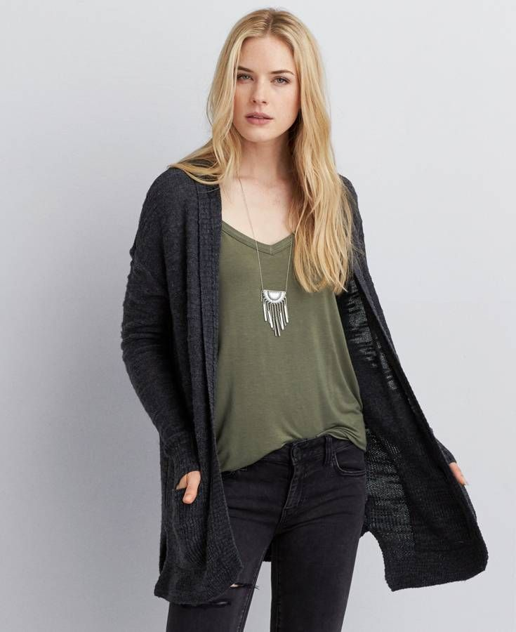 American Eagle Textured Hooded Cardigan, Women's, Grey | Get up ...