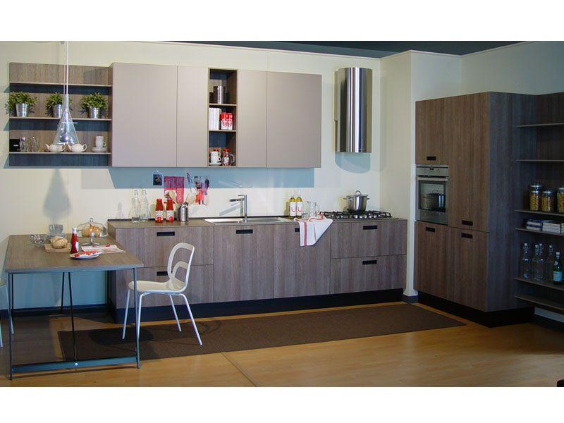 cucina lineare mod. kora con maniglia ad incasso alluminio bruno ... - Cucina Ad Incasso