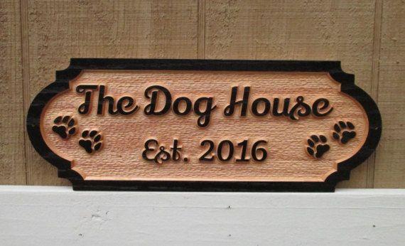 Personalized Dog House Sign Custom Name By Gpandsonwoodcrafting