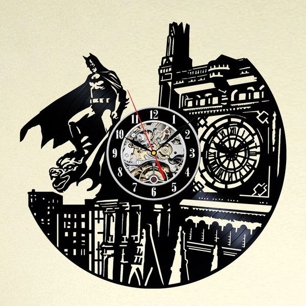 Uhren batman kunst vinyl schallplatte wanduhr held ein designerst ck von maxrecords bei - Wanduhr schallplatte ...