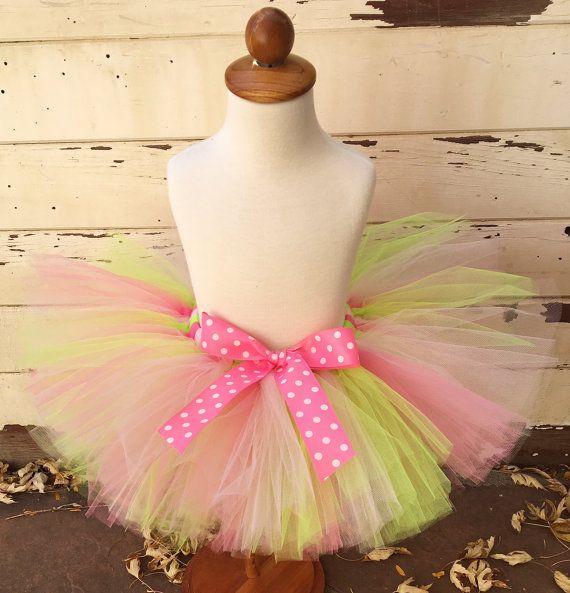 Pink & Green 1st Birthday Tutu Sewn Tutu by CardsandMoorebyTerri