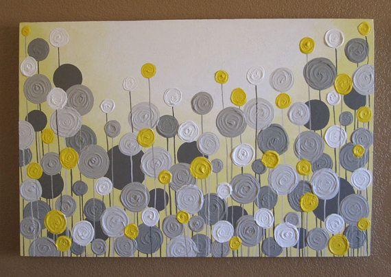 Mustard Yellow and Grey Wall Art, Textured Painting