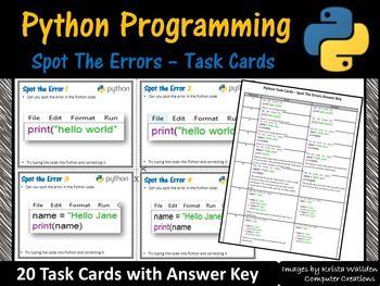 Python Programming - Spot The Error Task Cards (Coding