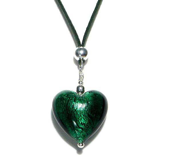 Amore Lasisydänkaulakoru Be058 m Muranolasia ja hopeaa! Lasikorut, hopeakaulakoru, vihreä kaulakoru