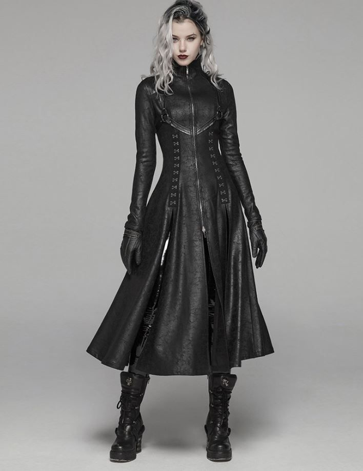 Photo of New Fashion Clothes Black Crazed Rave Gothic Women Dark Theme Color Adjustable Size Laced Turtleneck Black Leather Trench Coats