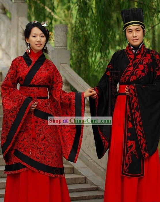 a965ee2d4 Traditional Chinese Wedding Dress 2 Sets for Men and Women ...