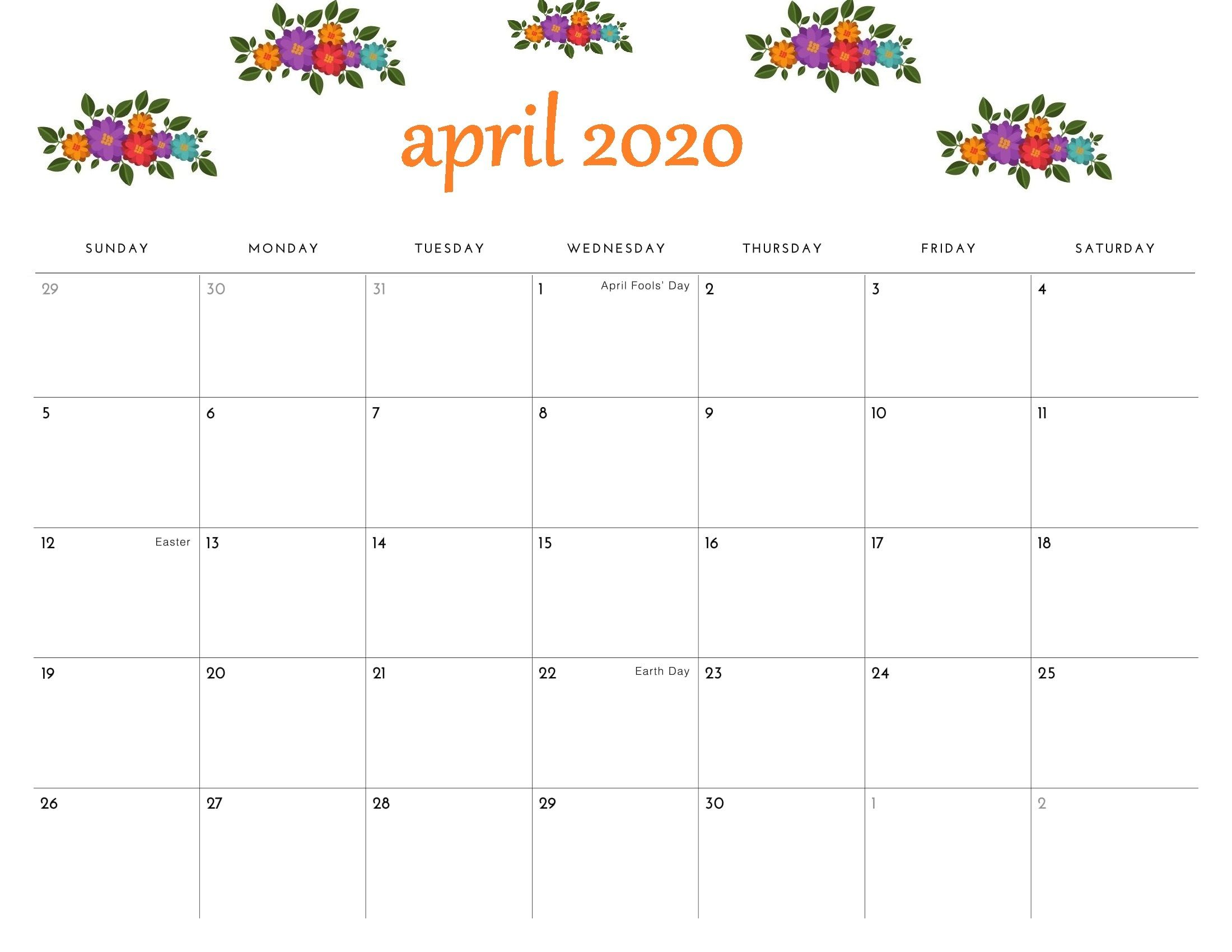 Floral April 2020 Calendar Cute Desk And Wall Wallpaper In 2020