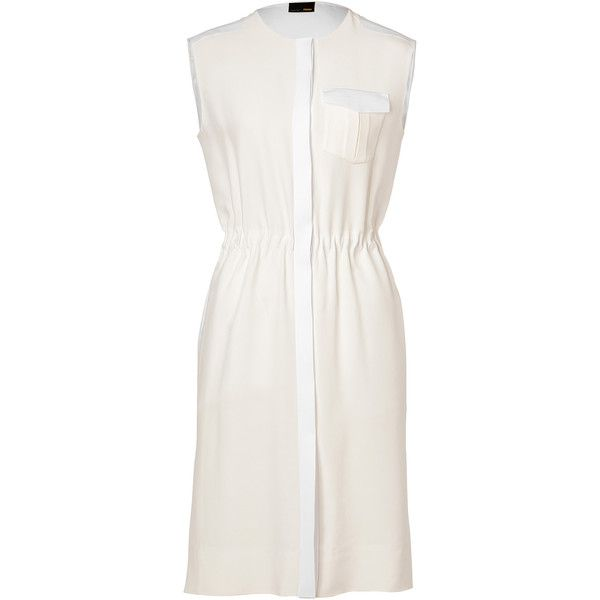 db19757b5c1 Fendi Ivory White Sleeveless Silk-Blend Dress ( 455) ❤ liked on Polyvore