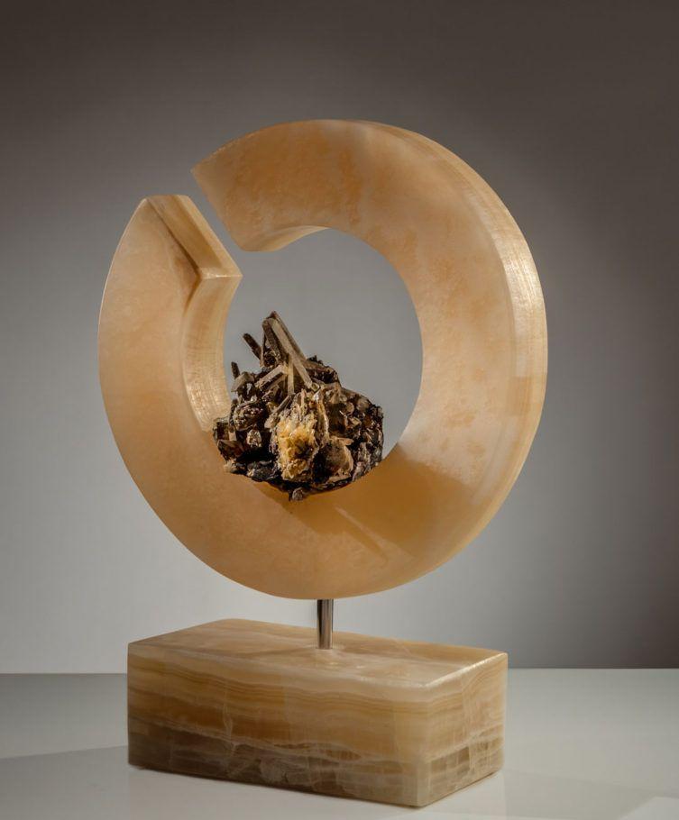 Light Of Self II - Organic, Quartz Crystal Cluster with Hematite and Golden Onyx Sculpture by Fine Artist Dorit Schwartz – Las Vegas