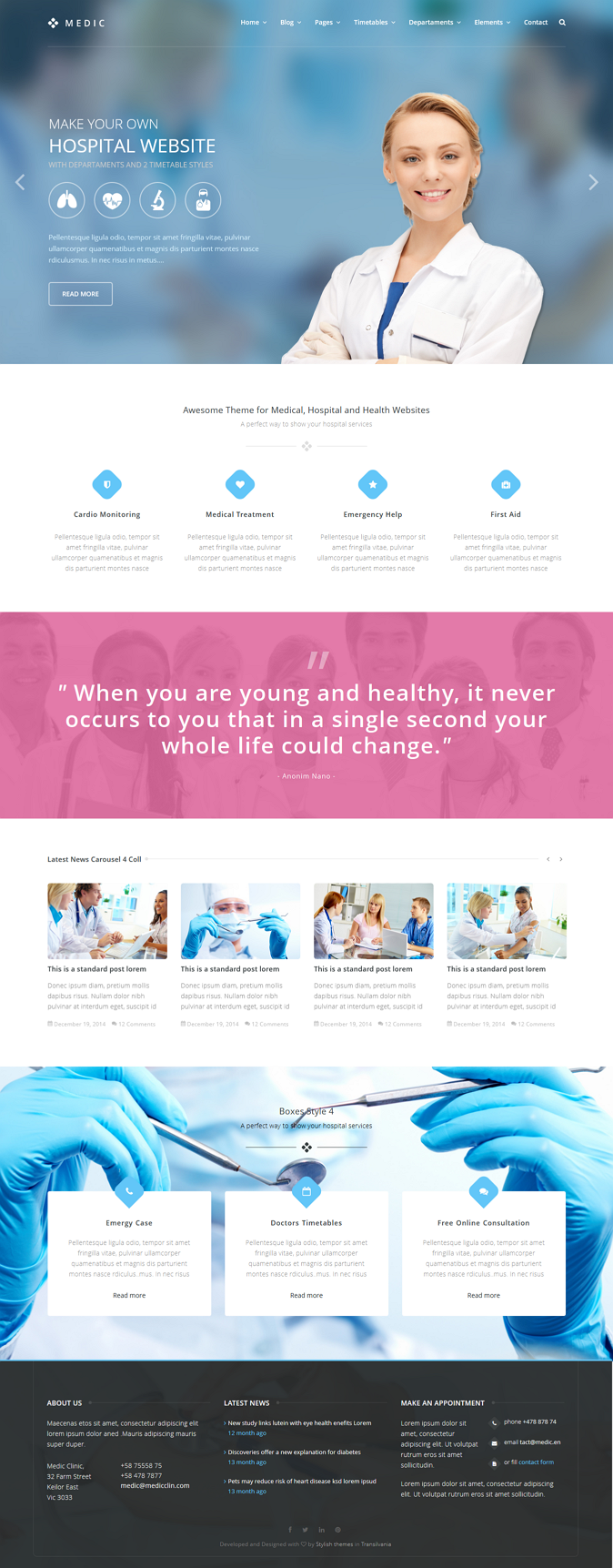 Medic is an html template that will help you to make a medical health or hospital website in this pack of 57 html you will find 2 styles of timetables