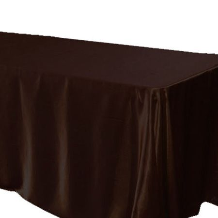 90 X 156 Rectangle Satin Chocolate Brown Tablecloth   Gone