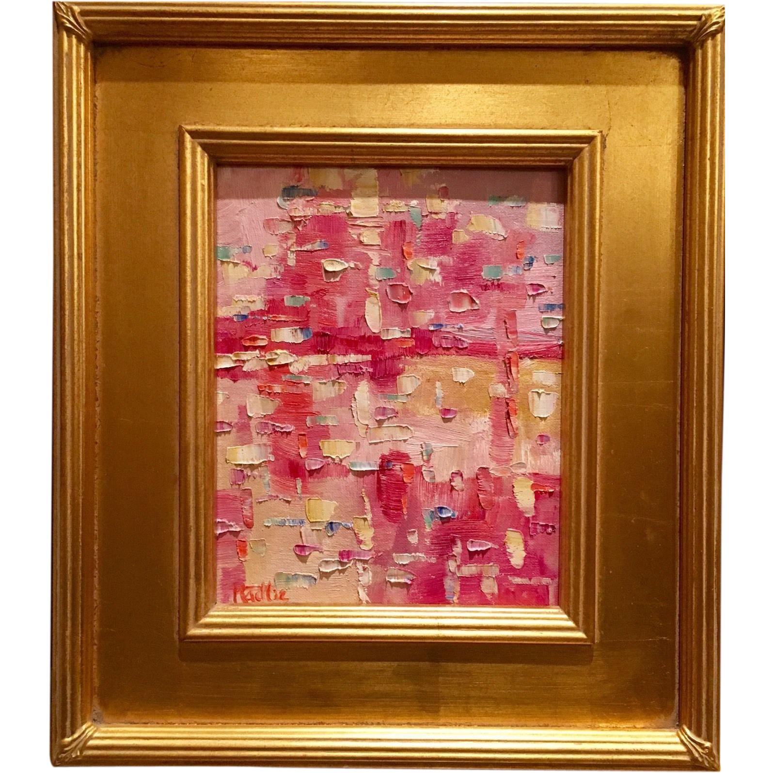 Abstract impasto of pink color original oil painting by artist abstract impasto of pink color original oil painting by artist sarah kadlic 8x10 framed gilt plein air frame jeuxipadfo Image collections