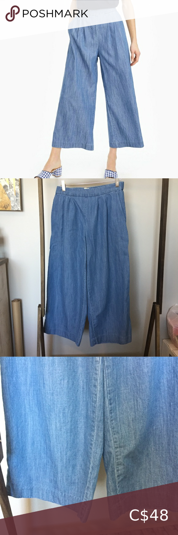 J Crew Denim Wide Leg Pants