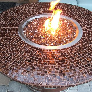 Mosaic Glass Tile Fire Pit Top Mosaic Glass Backyard
